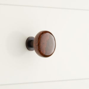 Signature Hardware Barringer 1-1/4 in. Brass Base and Ceramic Round Cabinet Knob in Striped Brown with Oil Rubbed Bronze SH275466
