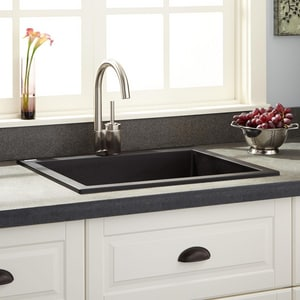 Signature Hardware Holcomb 23 5 8 X 20 1 8 In No Hole Composite Single Bowl Self Rimming Drop In Kitchen Sink In Black Sh419622 Ferguson