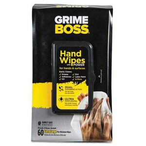 Grime Boss 9-4/5 x 8-1/5 in. Heavy Duty Hand Cleaning Wipes (Case of 60) NICM956S8