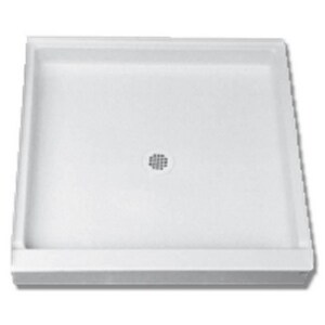 Florestone Saflor® 33-3/8 x 32 in. Glass and Metal Shower Base with Right Drain in White F32322RHWH