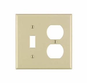Leviton 2-Gang Switch and Receptacle Thermoset Nylon Wall Plate in Ivory L86005