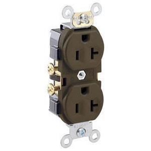 Leviton 20 Amp 125 V Straight Blade Duplex Receptacle in Brown LCR20