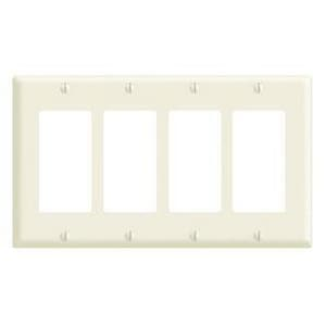 Leviton Decora® 4-Gang Standard Size Thermoplastic Wall Plate or Faceplate in White L80412NW