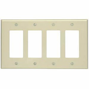 Leviton Decora® 4-Gang Wall Plate in Ivory L80412I