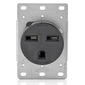 Leviton 2-1/2 in. 30A Straight Blade Wiring Device in Black L5372