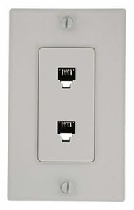 Leviton Decora Double Wall Phone Outlet Plate in White L40144W