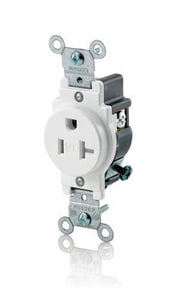 Leviton 20 Amp 125 V Straight Blade TP Receptacle in White LT5020