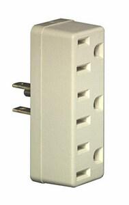 Leviton 3-Way Plastic U-Ground Single-to-Triple Adapter L697I