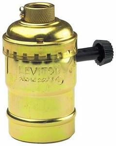 Leviton 3-Way Aluminum Shell Incandescent Lamp Holder in Polished Gilt L7090PG