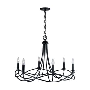 Capital Lighting Fixture Sonnet 60W 6-Light Candelabra E-12 Incandescent Chandelier in Matte Black C431661MB