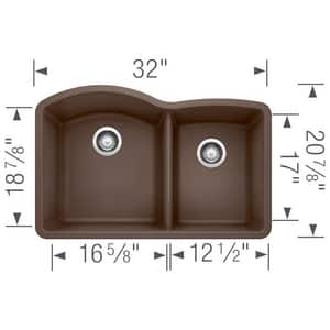 Blanco America Diamond™ 32 x 20-27/32 in. Composite Double Bowl Undermount Kitchen Sink in Cafe Brown B440177