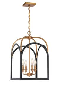 Park Harbor® Henrico 60W 4-Light Candelabra E-12 Pendant in Matte Black with Aged Brass PHPL6714MBAB