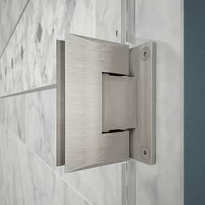 DreamLine Unidoor 41 in. Frameless Hinged Shower Door with Tempered Glass in Brushed Nickel DSHDR20407210S04