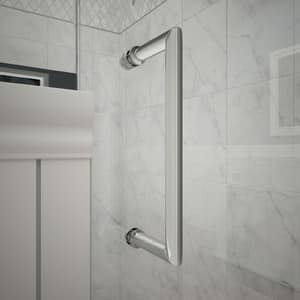 DreamLine Unidoor Plus 59 in. Frameless Hinged Shower Door with Clear Tempered Glass in Polished Chrome DSHDR24585721001