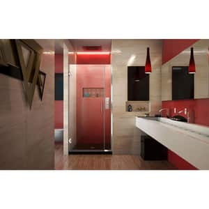 DreamLine Unidoor Plus 35 in. Frameless Hinged Shower Door with Clear Tempered Glass in Polished Chrome DSHDR24345721001