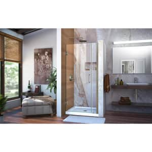 DreamLine Unidoor 35 in. Frameless Hinged Shower Door with Clear Glass in Brushed Nickel DSHDR2034721004