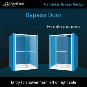DreamLine Encore 78-3/4 x 60 in. Semi-Framed Sliding Shower Door with Base Kit in Chrome with Biscuit DDL7004C2201