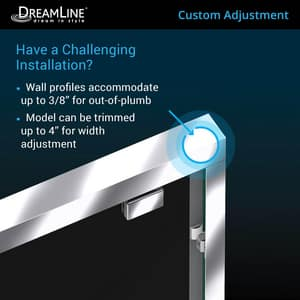 DreamLine Encore 78-3/4 x 48 in. Semi-Framed Sliding Shower Door with Base Kit in Chrome with Black DDL7002C8801