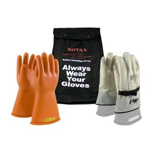 NOVAX® Size 9 Rubber Glove with Nylon Bag in Orange P147SK29KIT