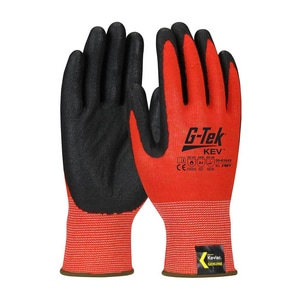 Protective Industrial Products G-Tek® Kev™ M Size Foam Nitrile Plastic and Nylon Glove in Red and Black (12 Pairs) P09K1640