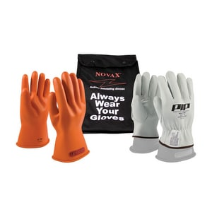 NOVAX® Size 10 Rubber Glove with Nylon Bag in Orange P147SK010KIT