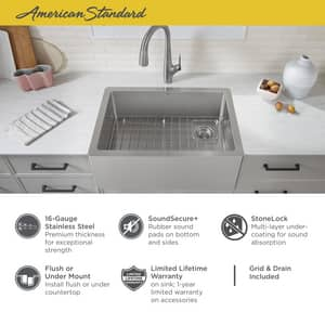 American Standard Avery® 30 x 20 in. No Hole Single Bowl Undermount Kitchen Sink in Stainless Steel A1180SB3020SS075