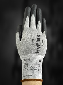 Ansell Occupational Healthcare HyFlex® 11-738 Size 7 Fiberglass, Lycra and Plastic Gloves in Black A11738