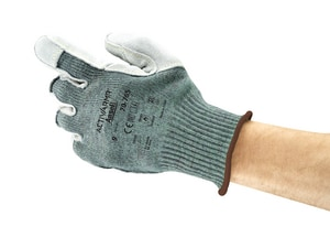 Ansell Vantage® Size 9 Leather and Polycotton Pad Glove in Green and Grey ANS104424