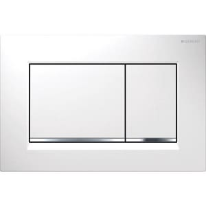 Geberit Sigma30 Dual Flush Actuator Plate in White and Polished Chrome G1158831