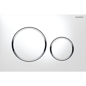 Geberit Sigma20 Dual Flush Actuator Plate in White and Polished Chrome G1158821
