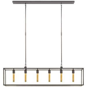 Visual Comfort & Co Belden 6-Light Ceiling Mount Island Light in Aged Iron VS5015AI
