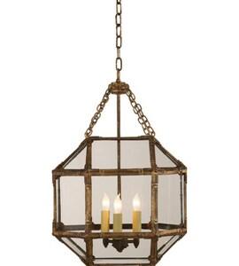 Visual Comfort & Co Suzanne Kasler 60W 3-Light Hanging Lantern in Gilded Iron VSK5008GICG