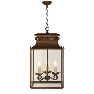 Visual Comfort & Co Honore 12 x 21 in. 180W 3-Light Ceiling Mount Candelabra E-12 Outdoor Small Lantern in Antique Zinc VSK5300AZ