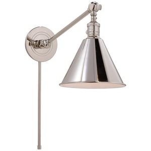 Visual Comfort & Co E.F. Chapman 1-Light 60W Single Arm Library Wall Light in Polished Nickel VSL2922PN