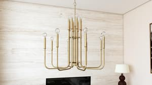 Capital Lighting Fixture Zander 60W 16-Light Candelabra E-12 Incandescent Chandelier in Aged Brass C421902AD