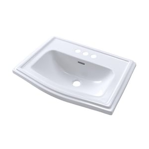 Toto USA Clayton 25 x 18-1/4 in. 3 Hole 1-Bowl Self-rimming Vitreous China Rectangular Bathroom Sink in Cotton White TLT781401