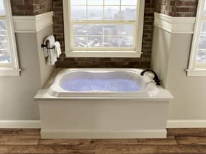JACUZZI® Bellavista™ 66 x 42 in. 10-Jet Acrylic Rectangle Drop-In Whirlpool Bathtub with Center Drain and J5 LCD Control JBEL6642WCR5IW