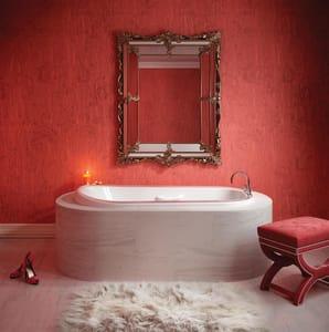 Bainultra Amma 66 x 38 in. Air Bath Drop-In Bathtub with Center Drain in White BAMMA6638FSWH