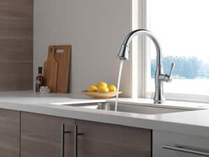 Delta Faucet Cassidy™ Single Handle Pull Down Kitchen Faucet in Arctic Stainless D9197DST