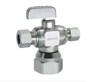 Dahl Brothers Mini-Ball™ 1/2 in x 3/8 in Locking Lever Handle Angle Supply Stop Valve in Polished Chrome D6115331LNSBAG