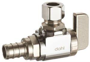 Dahl Brothers Mini-Ball™ 5/8 in x 3/8 in Lever Handle Angle Supply Stop Valve in Polished Chrome D6113331LNSBAG