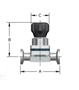 2 in. Stainless Steel Tri-clamp Tube Diaphragm Valve PF419X28LSFV404TMK