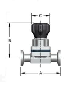 3/4 in. Stainless Steel Tri-clamp Tube Diaphragm Valve PENVF419804TMZZHF
