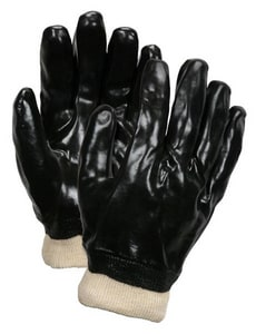 Memphis Glove L Size Plastic and Cotton Gloves in Black and White MEM6100
