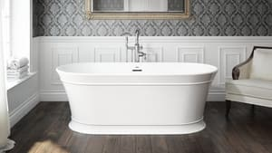 JACUZZI® Serafina 67 x 31-1/2 in. Soaker Freestanding Bathtub with Center Drain in White JSNF6731BCXXXXW