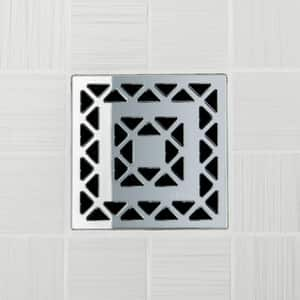 Ebbe America Lattice 4 in. Unique Lattice Grate in Polished Stainless EE4802PS