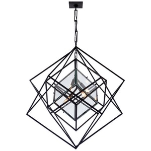 Visual Comfort & Co Cubist 60W 4-Light Chandelier in Aged Iron VKW5021AICG