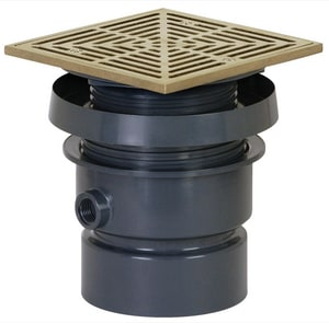 Sioux Chief FinishLine™ 832 Series 4 in. Hub PVC Floor Drain Assembly with 7 in. Square Nickel Bronze Grate and Ring and Strainer S8324PNQH