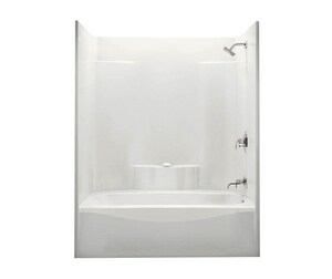 Aker Plastics 75-1/8 x 59-7/8 x 35-7/8 in. Tub and Shower with Left Hand Drain in White A141227000002501
