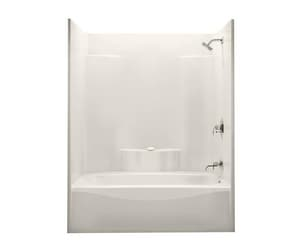 Aker Plastics 75-1/8 x 60 x 36 in. Tub and Shower with Right Hand Drain in Biscuit A141227000007002